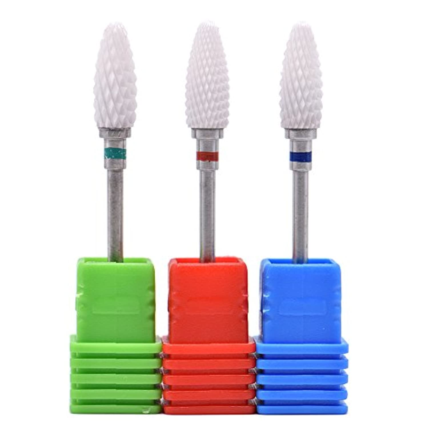 わずらわしい周囲座るOral Dentistry ネイルアート ドリルビット 長い 研磨ヘッド ネイル グラインド ヘッド 爪 磨き 研磨 研削 セラミック 全3色 (レッドF(微研削)+グリーンC(粗研削)+ブルーM(中仕上げ))