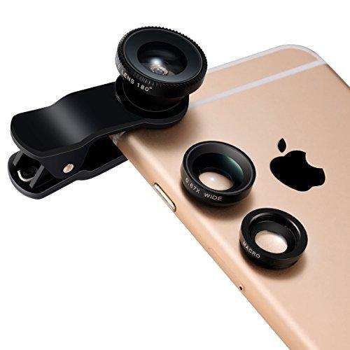 Breett® カメラレンズ 3点セット(180°魚眼レンズ、広角レンズ、マイクロレンズ) クリップ式 スマートフォン用カメラレンズ iPhone 6 / 6 Plus / 5 / 5c / 5s / 4s / 4 iPad Samsung Galaxy S6 / S5 / S4 / S3 Note 3 / 2 / 1 Sonyなど対応 挟むだけで簡単設置(ブラック)