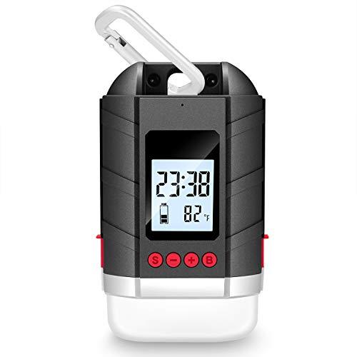 LEDランタン 15600mAh大容量 USB充電式 メモリ点灯機能【3色切替/四つの点灯モード/IP65準拠】デジダル時間/温度/電池残量表示 無段階調光可能 地震/災害/旅行/出張/緊急用