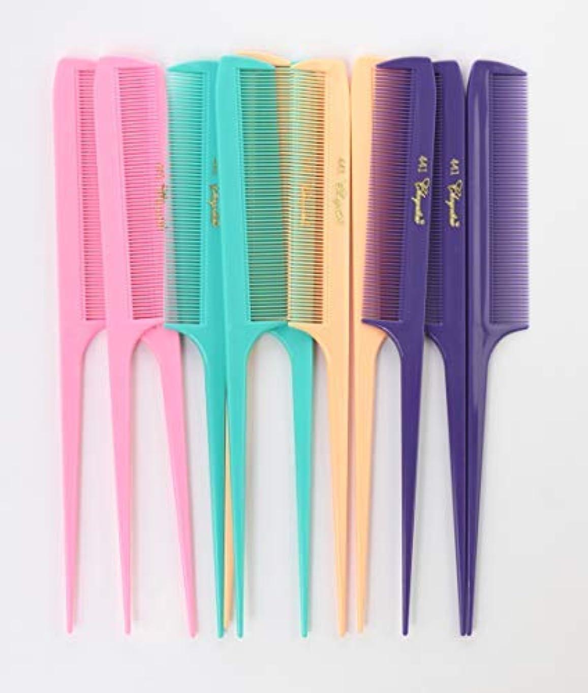 同僚アカデミー修羅場Krest Cleopatra 8-1/2 inch Rattail Combs Extra Fine Tooth.Rat Tail Comb Model #441. Color Fresh Mix. 1 dozen [...