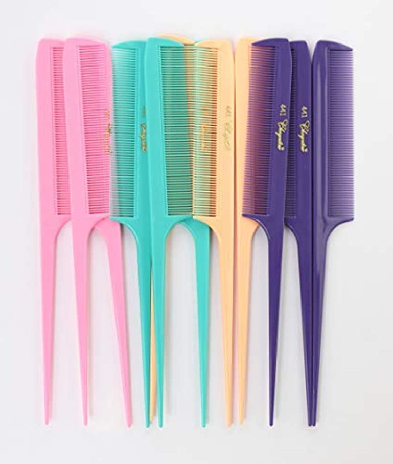 Krest Cleopatra 8-1/2 inch Rattail Combs Extra Fine Tooth.Rat Tail Comb Model #441. Color Fresh Mix. 1 dozen [...