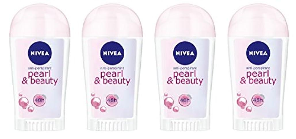 刺す変成器からに変化する(4パック) ニベアパールそしてビューティー制汗剤デオドラントスティック女性のための4x40ml - (Pack of 4) Nivea Pearl & Beauty Anti-perspirant Deodorant...