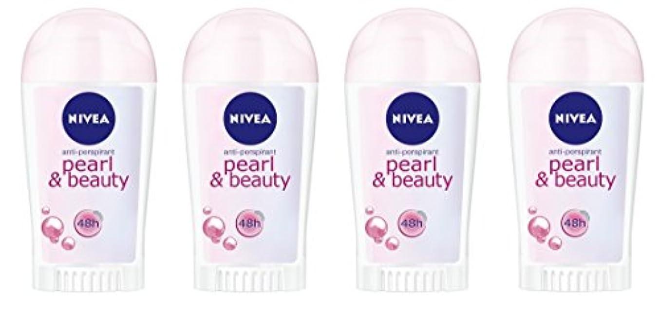 うまれたシュート慣習(4パック) ニベアパールそしてビューティー制汗剤デオドラントスティック女性のための4x40ml - (Pack of 4) Nivea Pearl & Beauty Anti-perspirant Deodorant...