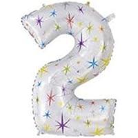 yuzuyu_shop 数字2 超BIGサイズ 40インチ アルミ バルーン 誕生日 記念 カウントダウン アルミ風船 ナンバー イベント パーティ 結婚 星 スター