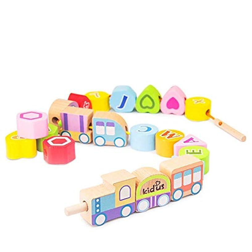 公園ギャザーながら積み木 幼児 ベビー 幼児用のひも付きビーズ教育用ひも付き大型木製輸送ブロック20個子供用の大きなひも付きビーズセット 知育玩具 (Color : Animal, Size : 24.5x32.5x3.5cm)