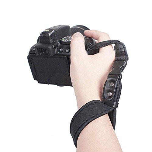 NinoLite カメラ用ハンドストラップ 手首をしっかり固定 簡単取付・取り外し 黒色 弾力性ネオプレン材質のリストストラップ