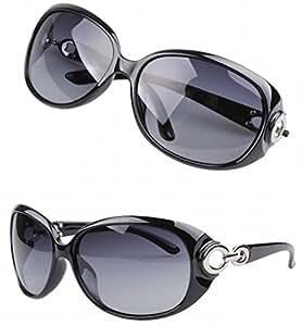 レディースサングラス/UV400/【オリジナルメガネバッグ&ウェス付きセット】 (偏光レンズ/ブラック)