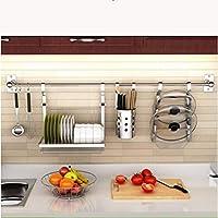 キッチンウォールマウントストレージラックスーツ、ステンレススチールラック強い荷重 3〜40 Kgの重量に耐えることができます 3つのフックで アクセスしやすい