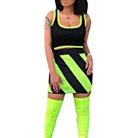Womens Sleeveless Tank Tops and Mini Skirt Sexy Color Block 2 Piece Set