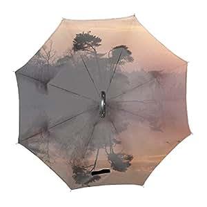反射日の出湖鳥飛ぶミスト逆転傘 逆さ傘 逆折り式傘 反転傘 自立傘 長傘 手離れC型手元 耐風 撥水加工 晴雨兼用 ビジネス用 車用 UVカット 遮光遮熱