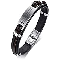 MPRAINBOW Religous Cross Jesus Scripture Quote Christian Jewelry Faith,Christian Bible Verse Inspiring Leather Bracelets for Men