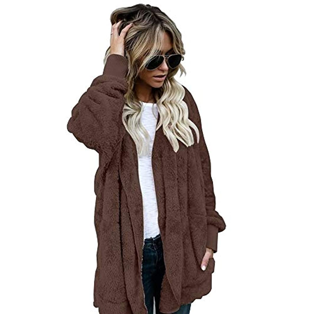 蜜貫通ずるいMIFAN 長袖パーカー、冬のコート、女性のコート、女性の緩い厚く暖かいフェイクファーフード付きカーディガン