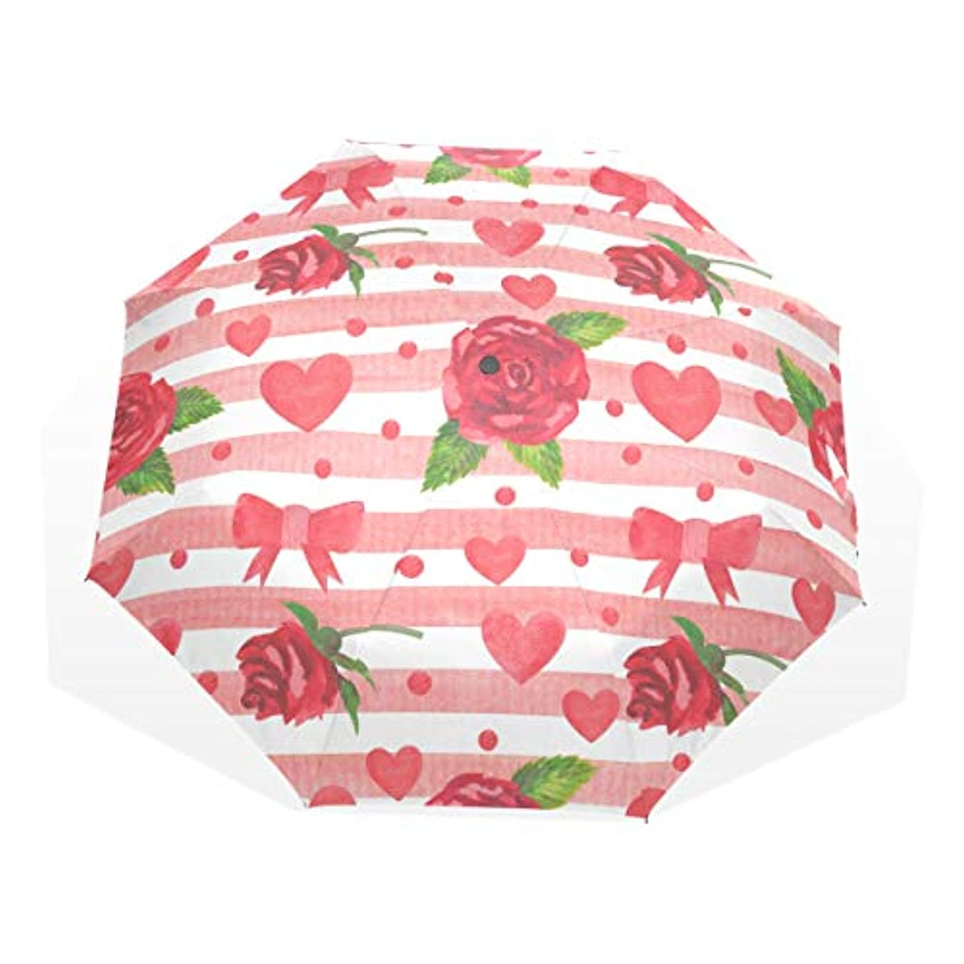 食欲覚えているニッケルAOMOKI 折り畳み傘 折りたたみ傘 日傘 手開 UVカットき 三つ折り 晴雨兼用 梅雨対策 耐強風 8本骨 男女兼用 薔薇柄 ハート 赤
