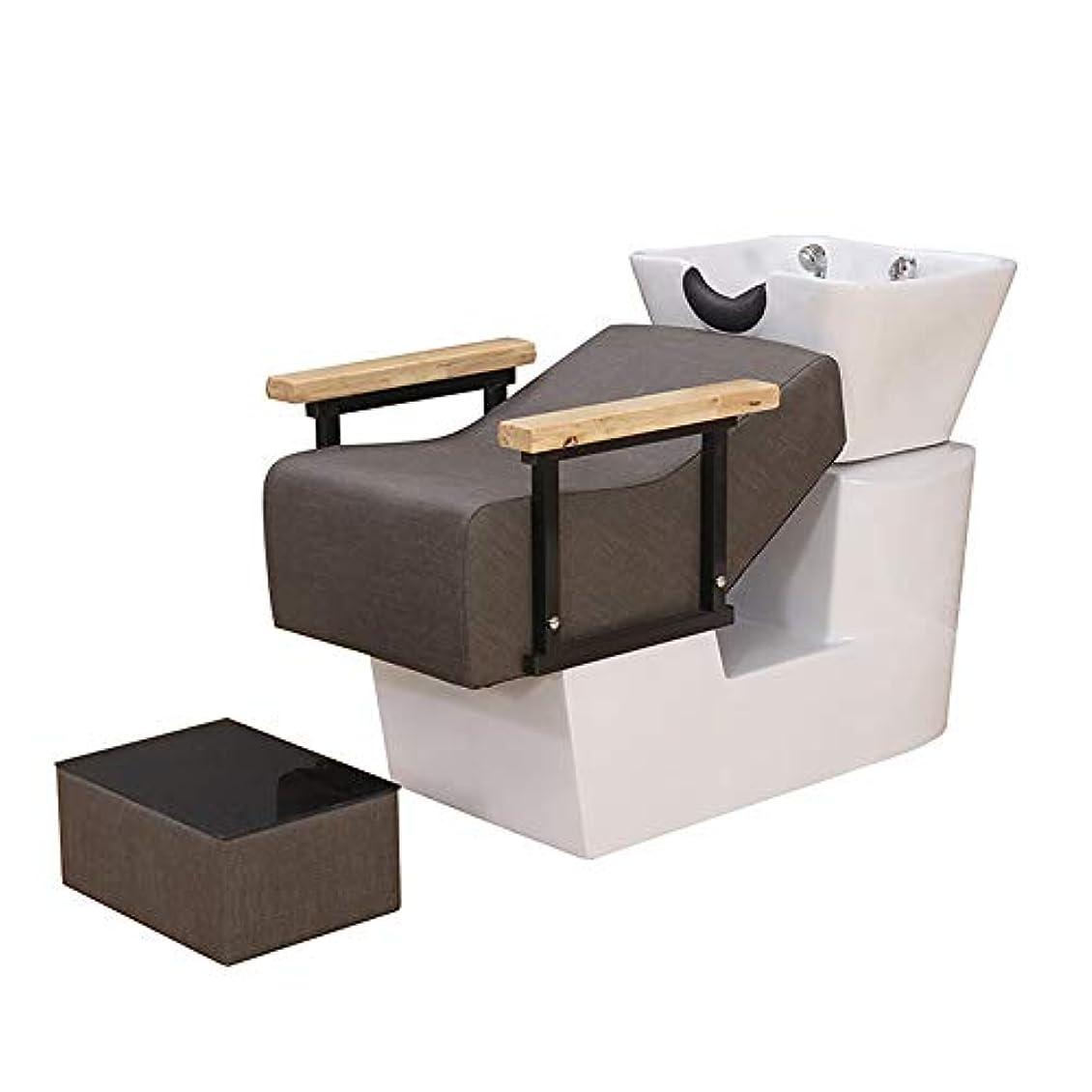 熟考するルージョブシャンプーチェア、逆洗ユニットシャンプーボウル理髪シンクシンクチェア用スパ美容院機器用半埋め込みフラッシュベッド