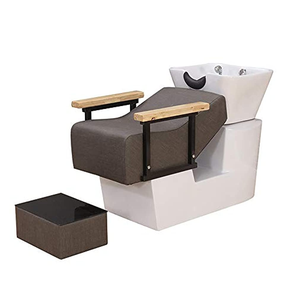 一握りギャザー認めるシャンプーチェア、逆洗ユニットシャンプーボウル理髪シンクシンクチェア用スパ美容院機器用半埋め込みフラッシュベッド