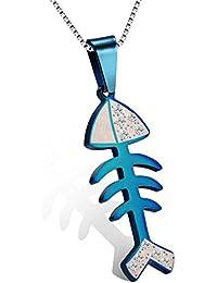 メンズネックレス ステンレス ネックレス 魚の骨 [ブルー]