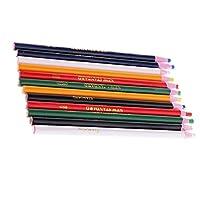 dailymall 12個は、金属ガラス生地のマーカーChinagraphグリースワックス鉛筆をはがします