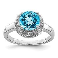 925スターリングシルバーロジウムメッキダイヤモンドと光スイスブルートパーズヘイローリング