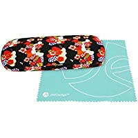 JAVOedge Japanese Flower Blossom Pattern Soft Cloth Eyeglass Case With Bonus Microfiber Cloth