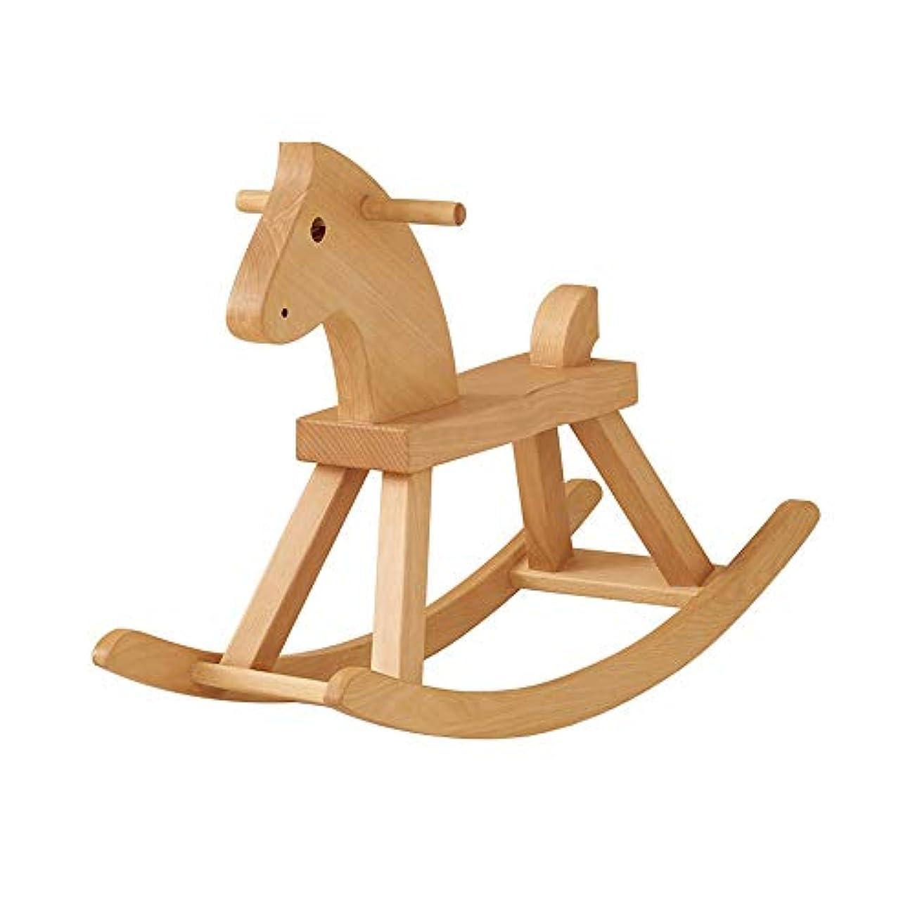アブストラクトかみそり演じる木馬 木製ロッキングホースベビーウッド乗っておもちゃロッカーのおもちゃのために子供の幼児ライドアニマル屋内屋外 (Color : Wood, Size : Free size)