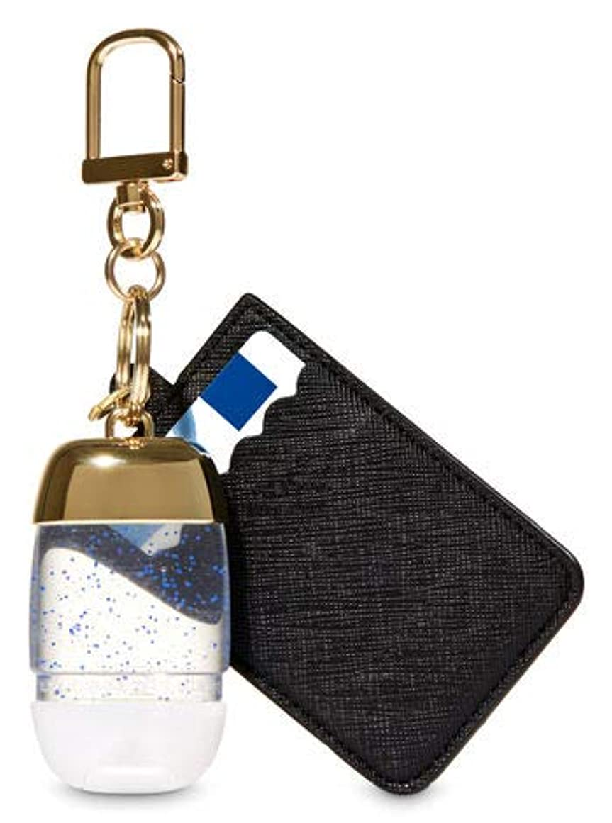 弓守銭奴ドライブ【Bath&Body Works/バス&ボディワークス】 抗菌ハンドジェルホルダー カードケース ブラック&ゴールド Credit Card & PocketBac Holder Black & Gold [並行輸入品]