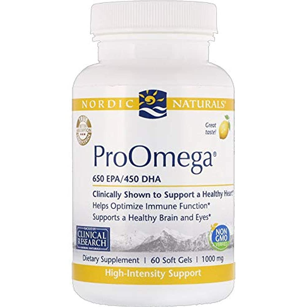 鼓舞する反発最初Nordic Naturals ProOmega プロオメガ レモン味 650 EPA / 450 DHA 1000 mg 60粒 [海外直送品]