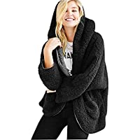 Women Casual Winter Hooded Cardigan Coat Warm Faux Fur Reversible Outwear with Pockets