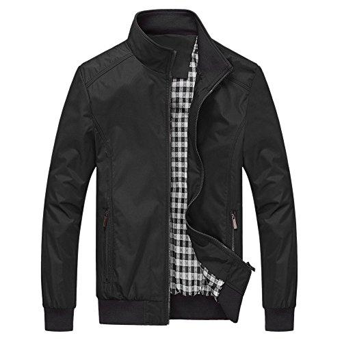 BoodTag Men Stand Collar Jacket Zipper Front Coat Tops Windbreak Outwear Black AU L/TAG XL