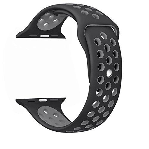 XRENG Apple Watch バンド, Apple Watch 38MMスポーツバンド 交換バンド 対応 アップルウォッチ Nike+ / New Apple iWatch Series 2 / Apple Watch Series 1 (38MM, ブラック+グレー)