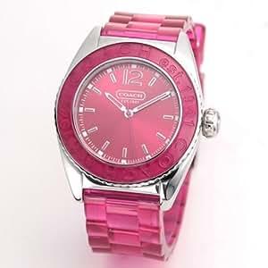 COACH コーチ 腕時計 ロゴベゼル ラバー ストラップ レディースウォッチ 14501419 ショッキングピンク[並行輸入品]