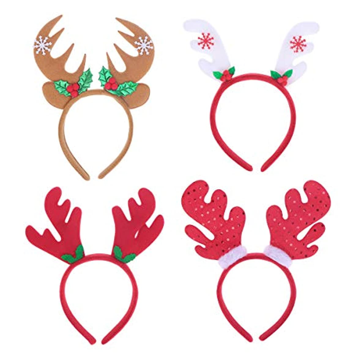 テクスチャー行くピアニストLurrose 4ピースクリスマスヘッドバンドサンタ帽子トナカイアントラーヘッドバンドヘアフープヘッドドレス帽子クリスマス衣装ヘアアクセサリー用大人の子供女の子