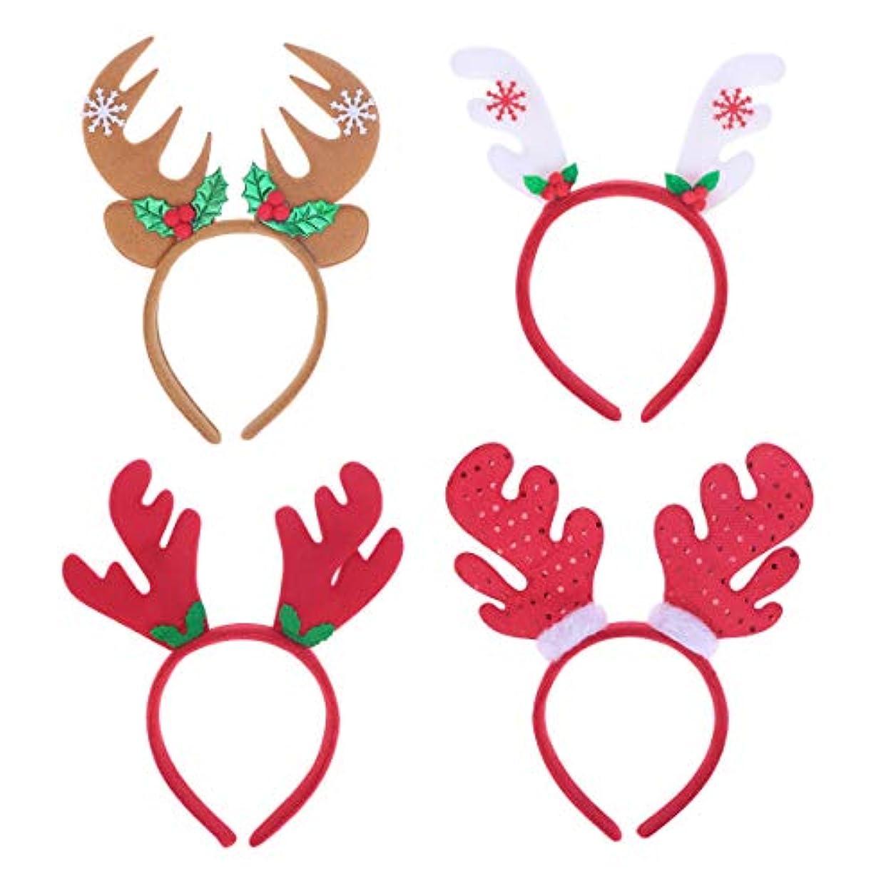 不足恐ろしいですかみそりLurrose 4ピースクリスマスヘッドバンドサンタ帽子トナカイアントラーヘッドバンドヘアフープヘッドドレス帽子クリスマス衣装ヘアアクセサリー用大人の子供女の子