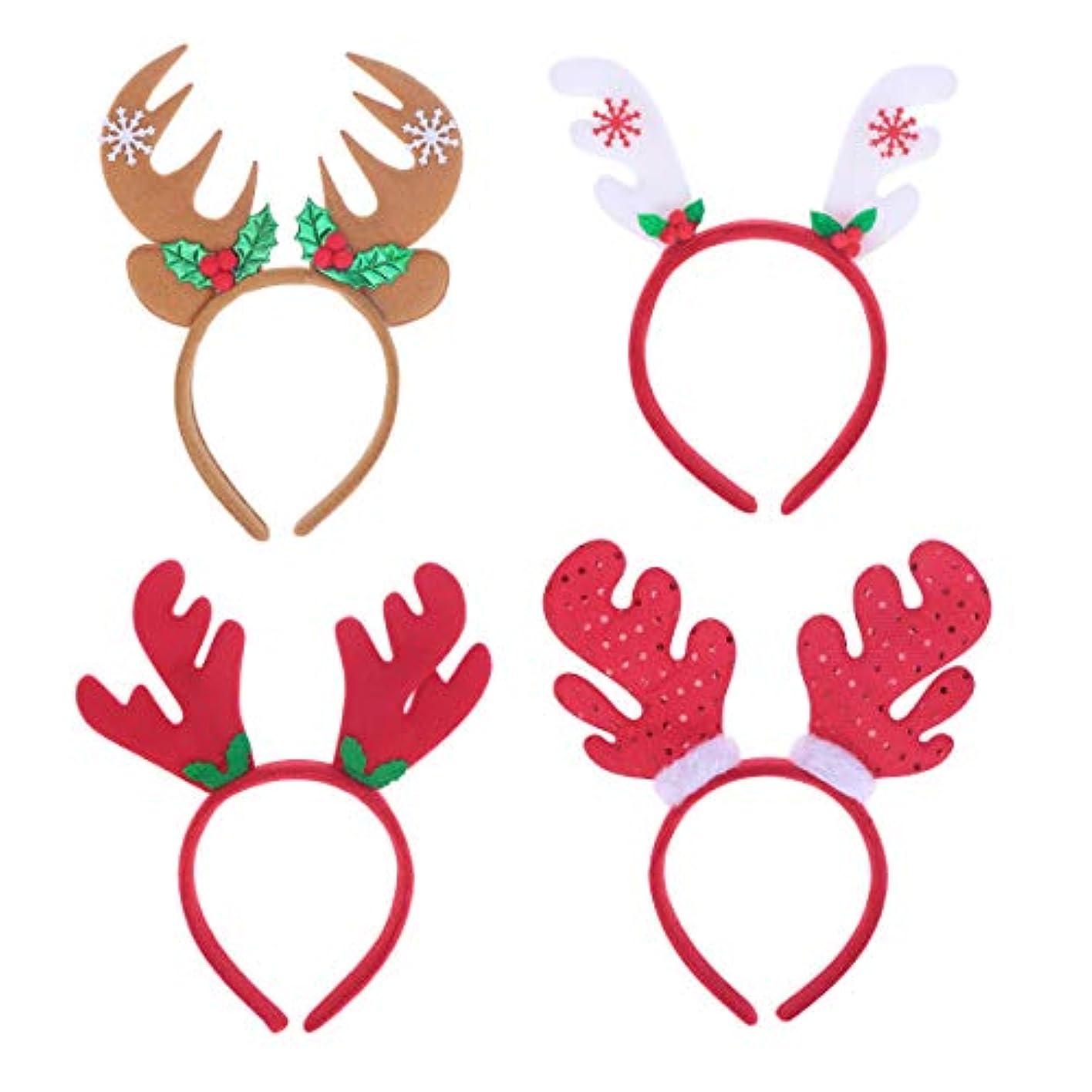 湿気の多いお金ゴム時間とともにLurrose 4ピースクリスマスヘッドバンドサンタ帽子トナカイアントラーヘッドバンドヘアフープヘッドドレス帽子クリスマス衣装ヘアアクセサリー用大人の子供女の子