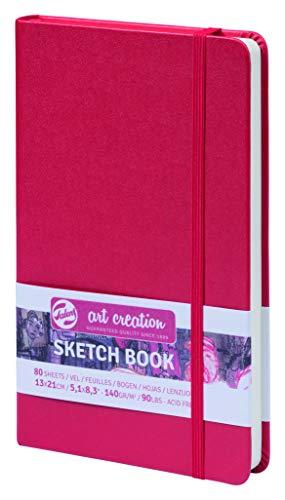 ターレンス アートクリエーションスケッチブック 絵を描く手帳 13×21cm 赤 厚み140g/㎡ 細目 中性 80枚綴じ T9314-202M