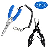 FNODGOING Fishing Pliers 2PCS Curved Nose Scissors Braid Fishing Line Cutters Split Ring Pliers Fish Hook Remover Braid Wire Cutter Holder Stainless Steel Multi-Tools Fishing