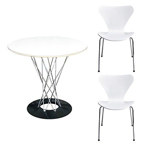 3点セット イサムノグチ サイクロンテーブル 白 直径80cm セブンチェア アルネ・ヤコブセン Seven Chair 2脚 ホワイト リプロダクト おしゃれ