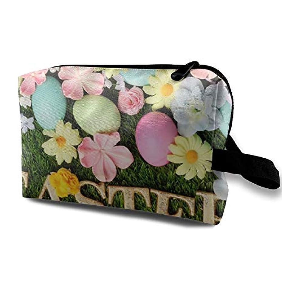 同意スペード儀式Holidays Easter Eggs In Grass 収納ポーチ 化粧ポーチ 大容量 軽量 耐久性 ハンドル付持ち運び便利。入れ 自宅・出張・旅行・アウトドア撮影などに対応。メンズ レディース トラベルグッズ