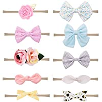 Prohouse 10PCS Baby Nylon Headbands Hairbands Hair Bow Elastics for Baby Girls Newborn Infant Toddlers Kids
