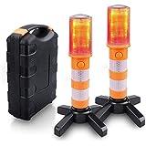 JPSTAR 【2個セット】非常信号灯 LED警告灯 懐中電灯 3モード切替 磁気ベース付き 着脱式スタンド 多機能 高…