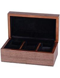 木製の腕時計のケース3ソフトピローの旅行やコレクションのためのスロットレトロジュエリーブレスレット収納ボックス - L21cm * D11.5cm * H8.5cm