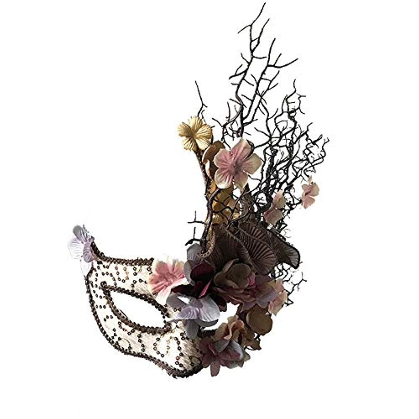 豚幅事Nanle ハロウィンプラムツリーブランチマスク仮装手持ちのマスクレディミスプリンセス美容祭パーティーデコレーション (色 : Pink hand-held)
