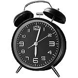 ANHEQ 目覚まし時計 大音量 めざまし時計 ベル おしゃれ アナログ 電池式 置き時計 連続秒針採用 静音 卓上時計 絶対起きれる時計 目覚まし(黒)