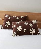 [nissen(ニッセン)] あったかフリース枕カバー同色2枚組(雪柄) ブラウン 35×50cm