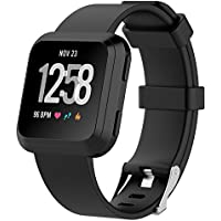 "Fitbit Versa Watch Bands , IVSO Men Women Kids 11 Colors Soft TPE Silicone Sport Quick Release Classic Loop Band Adjustable Strap Wristbands Accessory Replacement Watch Bands For Fitbit Versa Smartwatch ,Black , 5.5""-7.1"""