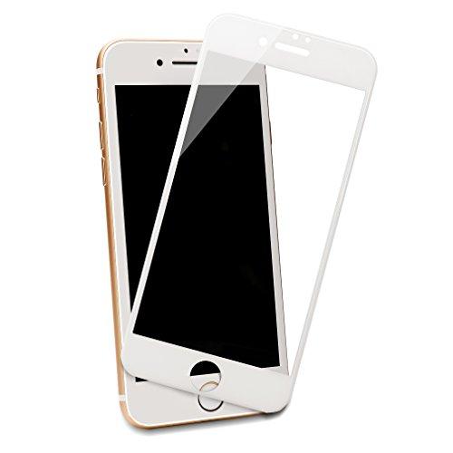 iPhone 7 plus 強化ガラスフィルム 全面フルカバー 液晶保護フィルム 3D Touch対応 ラウンドエッジ加工 飛散防止 0.33mm 9H Devolb (iPhone 7 plus, ホワイト)