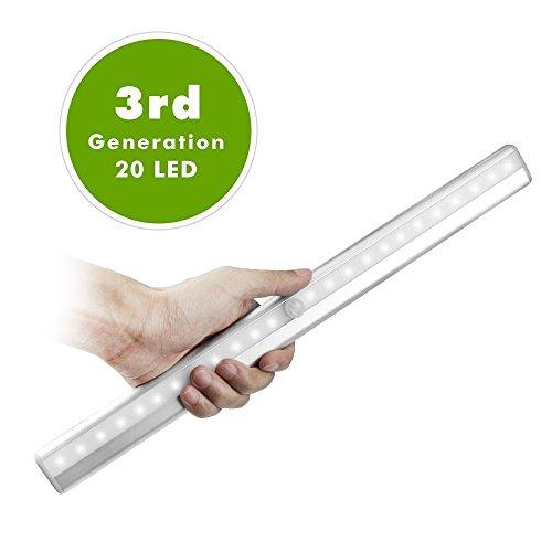 OxyLED LEDセンサーライト 人感センサー 20個LED電球 高輝度 USB 充電式 屋内 マグネット 取り付け型 (昼白色) T-02S