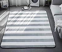 LilyAngel カーペットシンプルなストライプの長方形快適な滑り止めリビングルームスタディベッドルーム子供用クライミングマットティーテーブルソファホームカーペットに適した (Color : グレー, サイズ : 190*230CM)