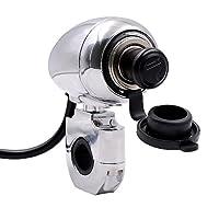 12V-24V オートバイ用メタルシガレットライター 充電パワーリフィッティングパーツ ハーレー モディフィー用 ヒューズ付き 70cm ラインの長さ 22mm シルバー PEC0000095