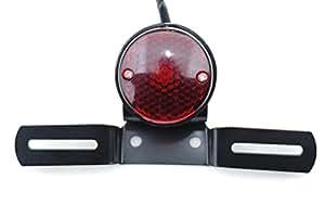 汎用 レトロ ヴィンテージ アーリー テールランプ 【ADVANTAGE】 ライト カスタム バイク ナンバー ステー (Aタイプ/ブラック)