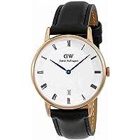 ダニエルウェリントンシェフィールドDapper dw00100092ローズゴールド34mm腕時計ブラックレザー